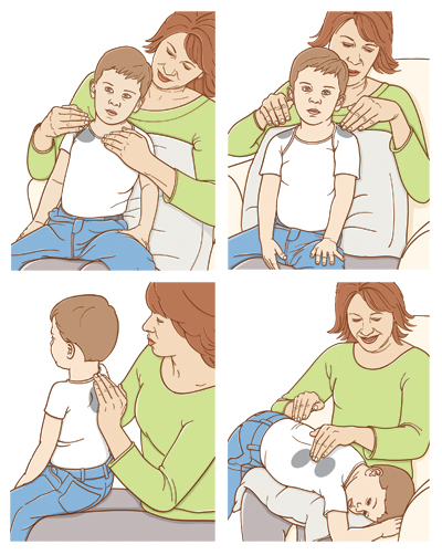 Woman with boy sitting on lap doing four types of CPT on his chest, back, shoulders, and shoulder blades.
