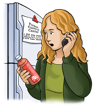Woman holding bottle with poison label is on the phone. Poison control number is attached to refrigerator behind her.