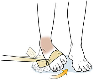Foot with elastic band around forefoot doing ankle inversion exercise.