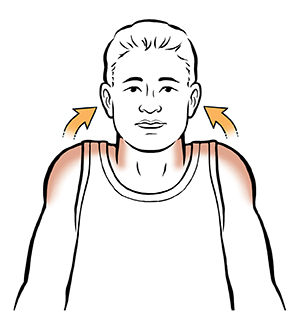 Man lifting shoulders towards ears.