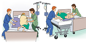 Two steps showing healthcare providers moving patient from bed to gurney.