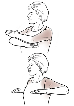 Woman doing arm cross exercise.