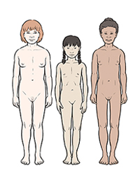 Three girls showing differences in development at age 12.