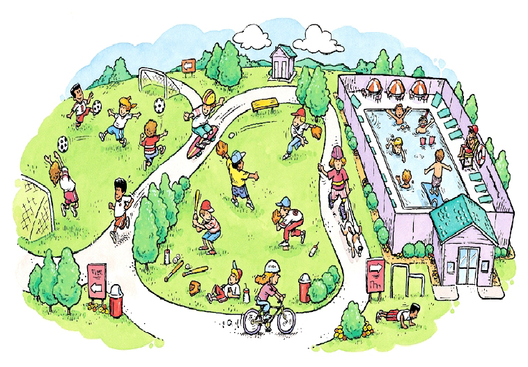 Overhead image of park with kids in swimming pool, bicycling, walking dog, playing baseball, running, doing pushups, skateboarding, and playing soccer.